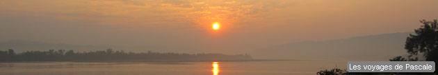 Lever de soleil sur le Mékong